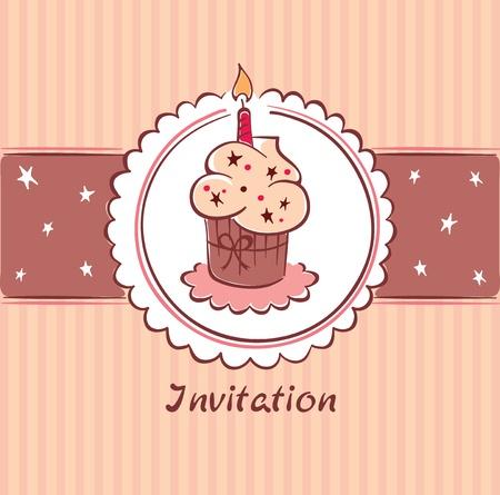 Postcard - Birthday Invitation  Vector