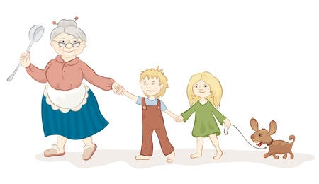 The good grandmother with childrens Vector