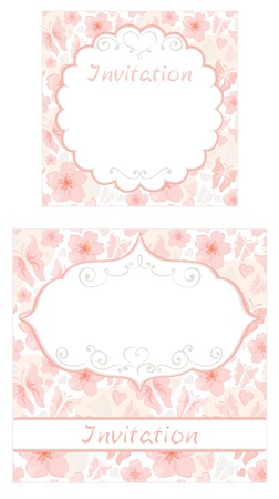Set of floral invitations  Vector