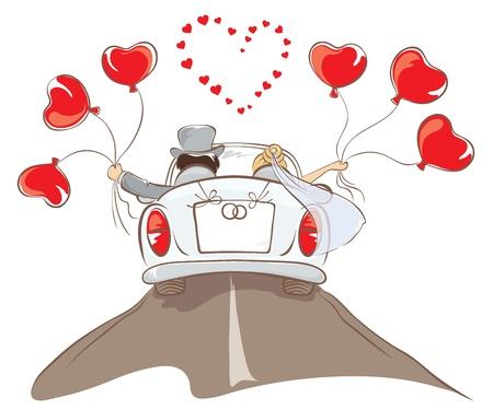 La novia y el novio en un auto