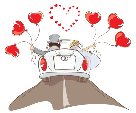 marriage cartoon: The bride and groom riding in a car