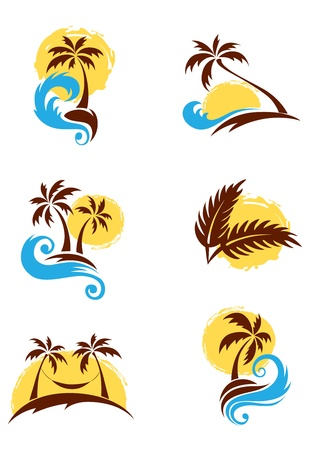 sunset palm trees: A set of logotypes - palm trees and sea