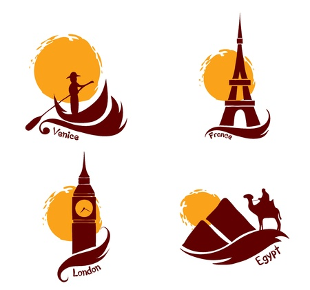 Set of images - country and tourism  Vector