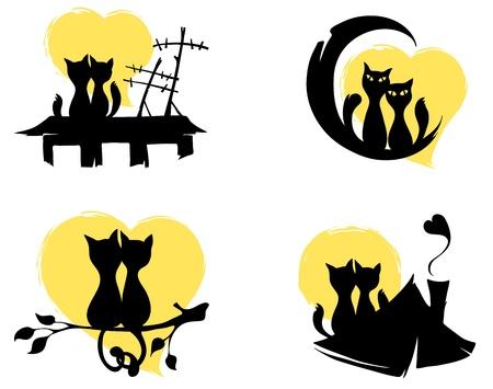 gato negro: De marzo de gatos Vectores