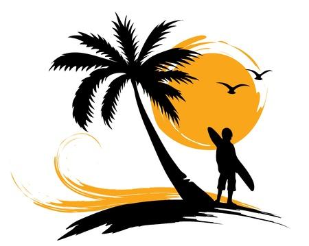 ocean sunset: Illustration - palm trees, sun, surf  Illustration