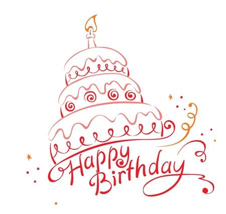 케이크: 케이크 ANS 생일 축하 일러스트