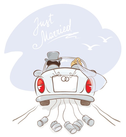 marriage cartoon: Newlyweds in a car