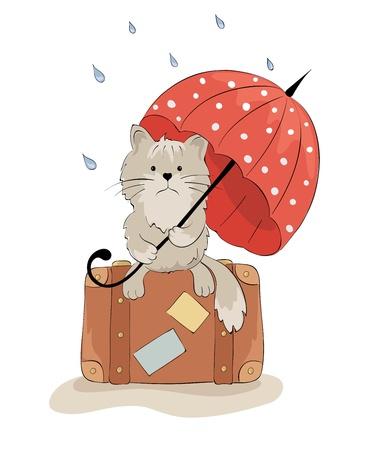 Sad cat with an umbrella  Vectores