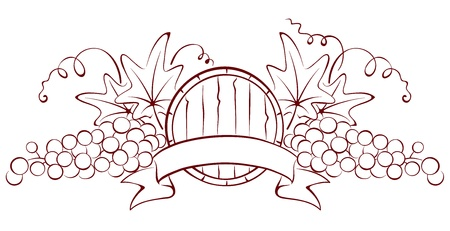 Design element - a barrel and grapes  Ilustracja