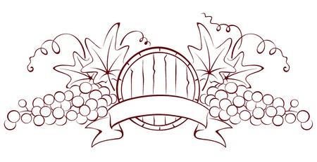 Design element - a barrel and grapes  Vectores
