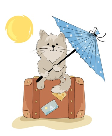 happy couple beach: Cat in the vacation  Illustration