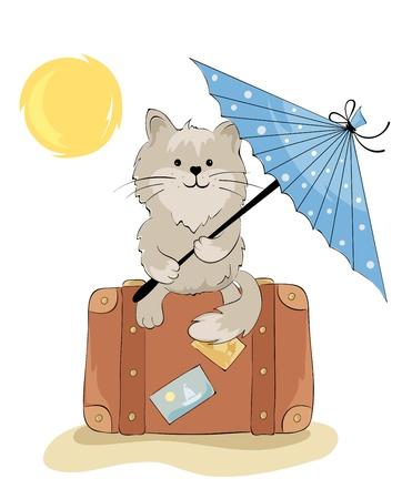 enamorados caricatura: Gato en las vacaciones