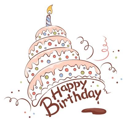 pasteles de cumplea�os: Feliz torta Vectores
