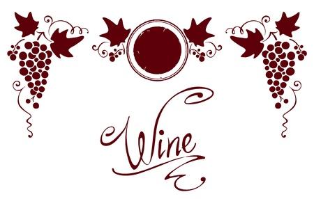 Set of elements for a wine label  Illustration