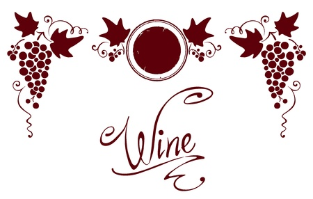 grapes on vine: Set of elements for a wine label  Illustration
