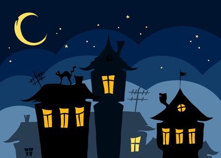 Nacht van de oude stad met een kat op het dak Vector Illustratie
