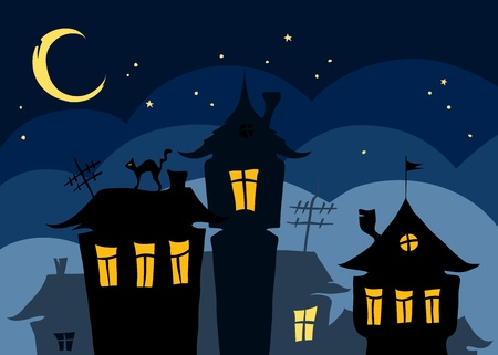 star cartoon: Night the old town with a cat on the roof