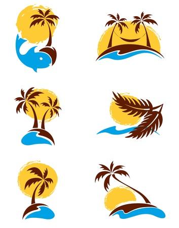 beach scene: Set of logotypes - palm trees