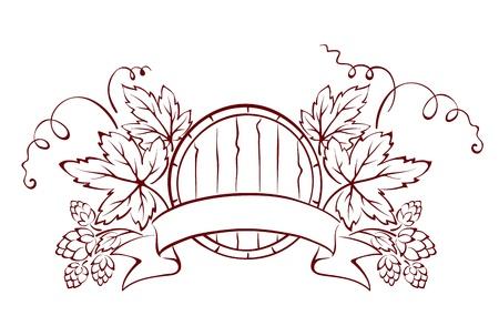 hop cone: Design element - a barrel and hop