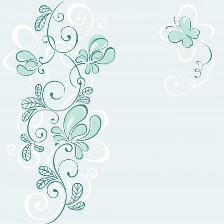 cards design: Blue floral background