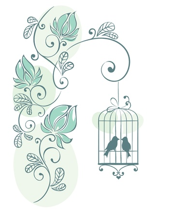 Floral background - love birds  Vector