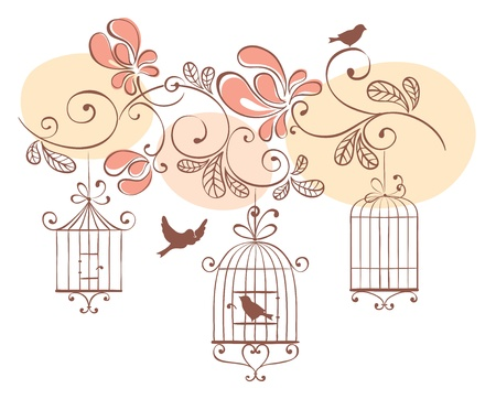 cage: Floral background with birds  Illustration