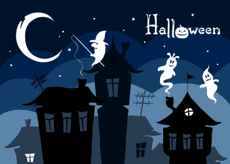 spooky house: Night city with spooks  Illustration