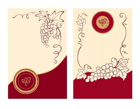 wijn en spijzen: Wijn etiketten met druiven