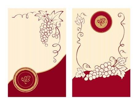 wine vineyards: Wine labels with grapes
