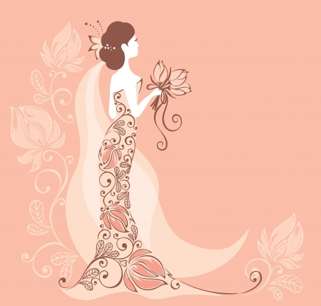 evening gown: Background with a bride  Illustration