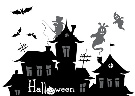 ghost town: Halloween background  Illustration