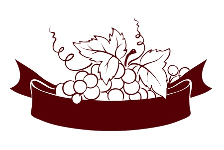 Design elements -- grape with ribbon  Vector