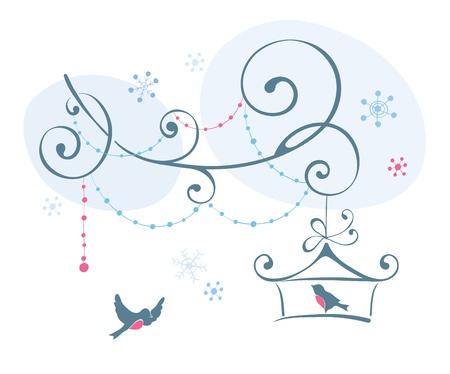 Birds in winter  Stock Vector - 15928257