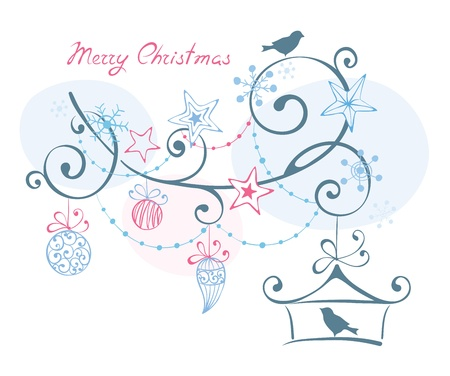 Christmas background -- birds on branch  Vector