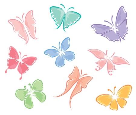 tekening vlinder: Set - Vlinders Stock Illustratie