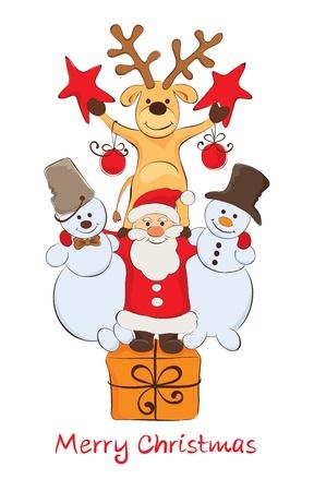 Funny Company - Santa, snowmen and reindeer