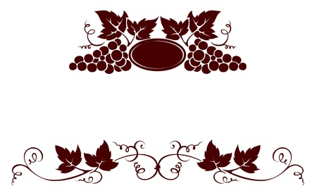 vine and leaves of vine: Set design elements -- grape with stamp