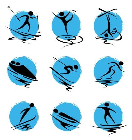 luge: Set abstract illustration - winter sports  Illustration