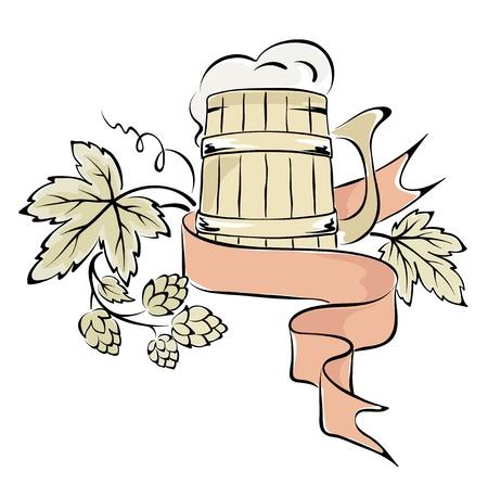 Illustration - beer and hops
