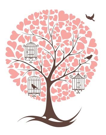 virágzó: Fa, madarak és szívek Illusztráció