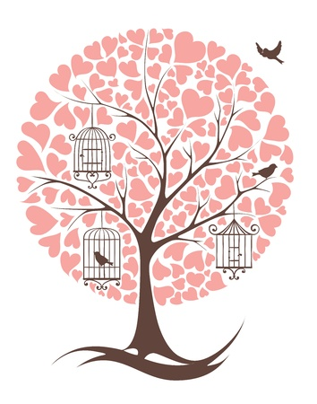 Tree with birds and hearts Vector