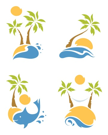 A set of pictures - the beach and palms Vector