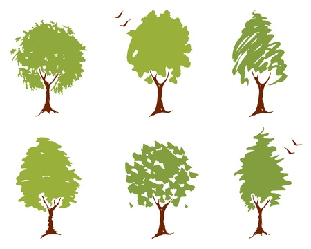 A set of abstract illustrations - trees Stock Vector - 19588585