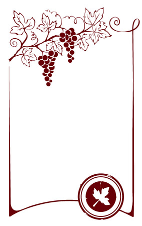 wine vineyards: Design element - frame with vine