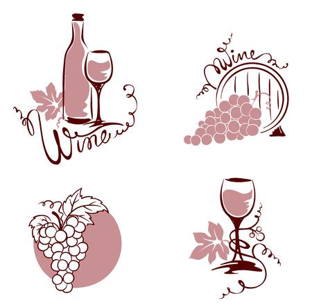 uvas: Conjunto de elementos de diseño - el vino y las uvas