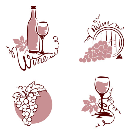 cask: Set of design elements - wine and grapes