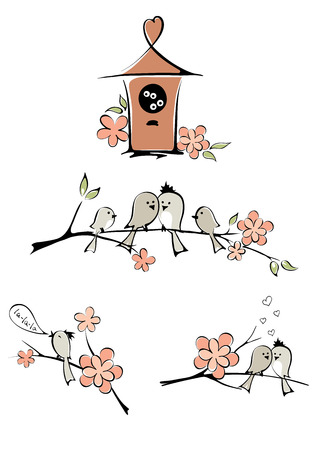 Set of pictures - bird s family Vector