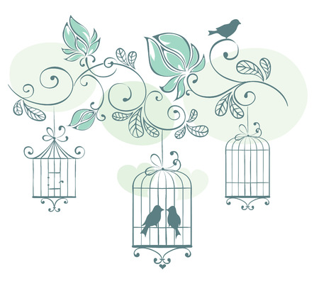 Floral background with birds in cage Illustration