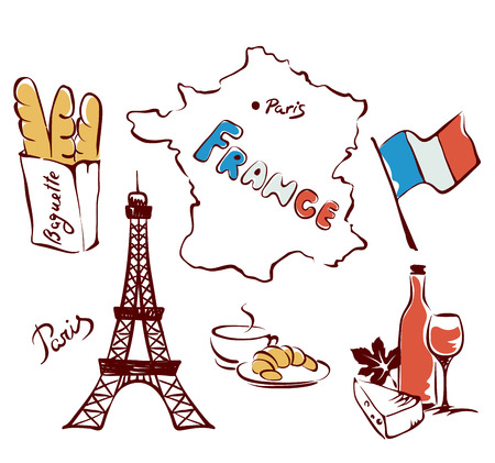 bread and wine: Set of images - France