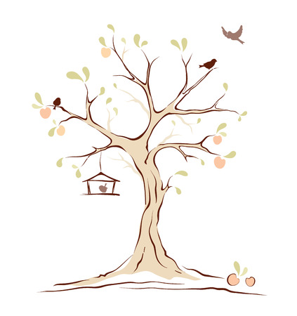 Birds on summer tree Vector
